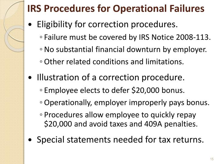 IRS Procedures for Operational Failures