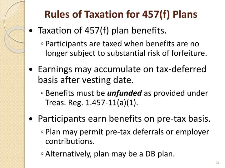 Rules of Taxation for 457(f) Plans