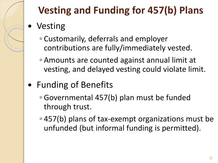 Vesting and Funding for 457(b) Plans
