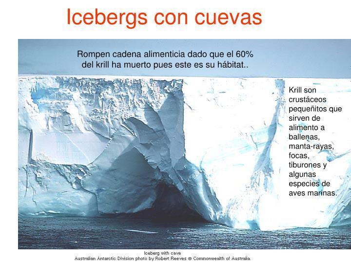 Icebergs con cuevas