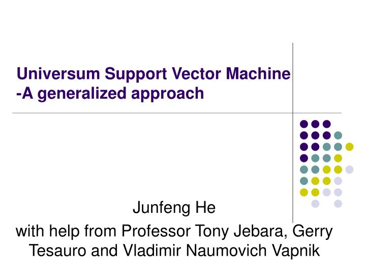 Universum support vector machine a generalized approach
