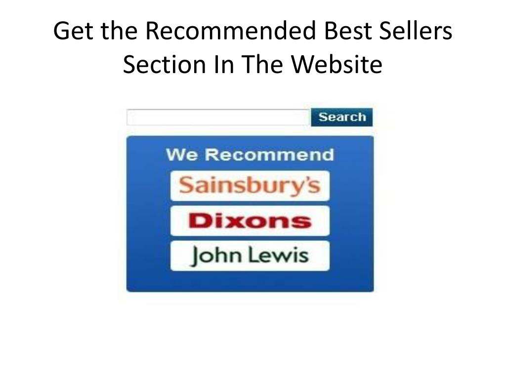 Get the Recommended Best Sellers Section In The Website