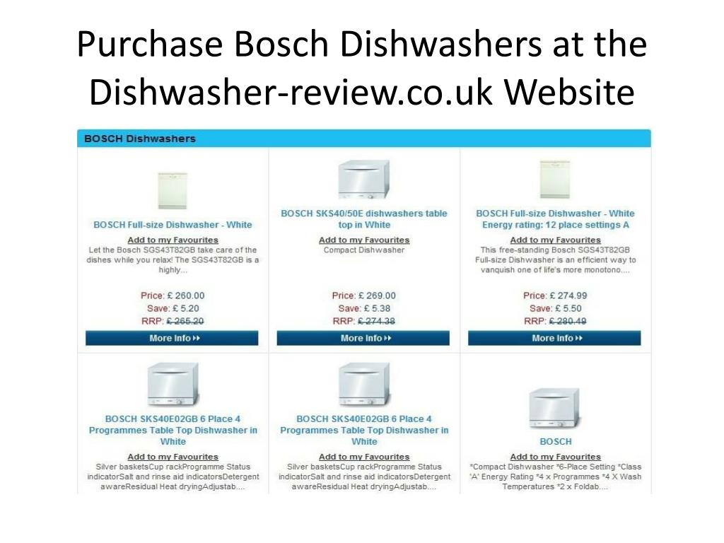 Purchase Bosch Dishwashers at the Dishwasher-review.co.uk Website