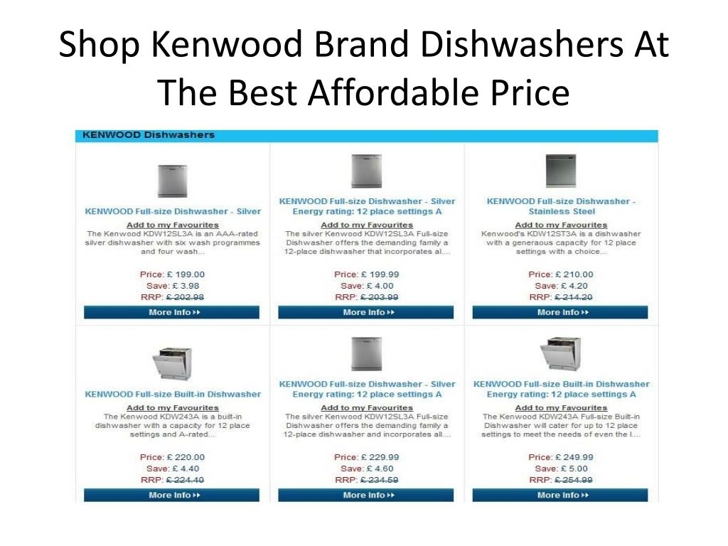 Shop Kenwood Brand Dishwashers At The Best Affordable Price