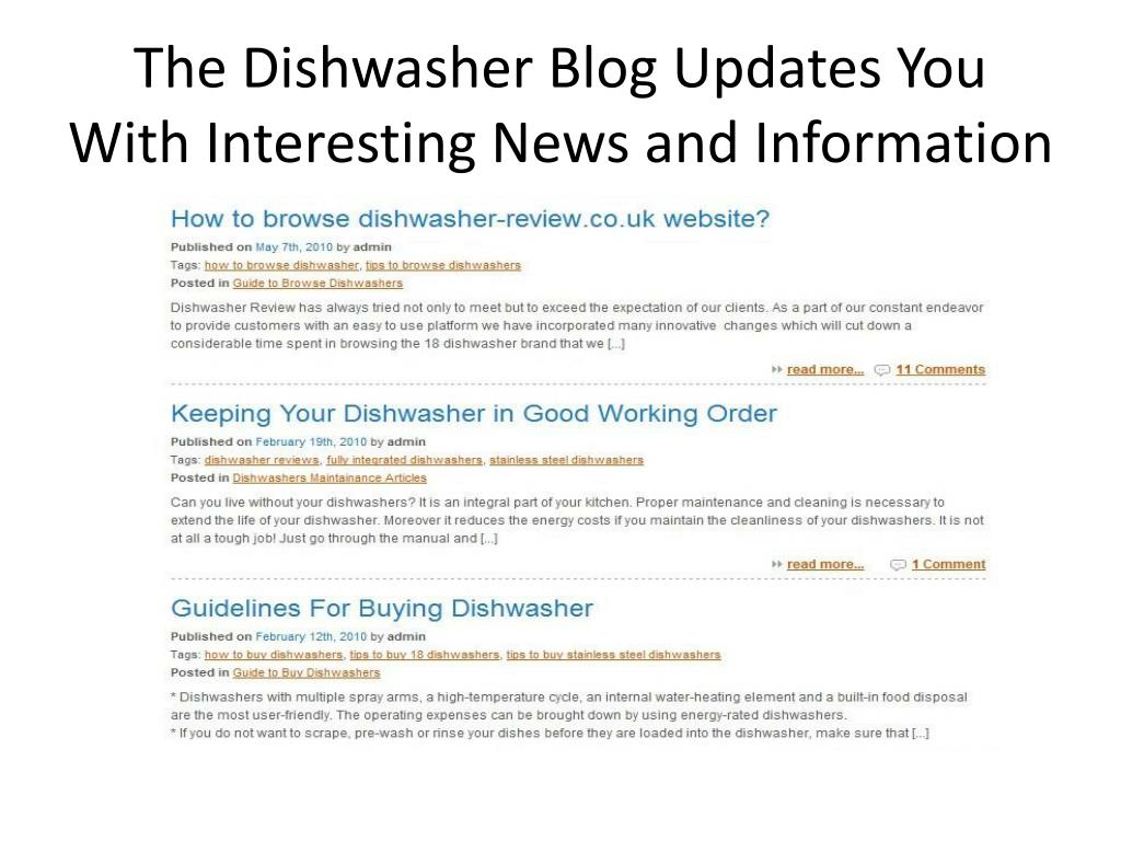 The Dishwasher Blog Updates You With Interesting News and Information