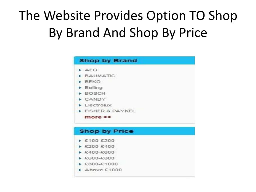 The Website Provides Option TO Shop By Brand And Shop By Price
