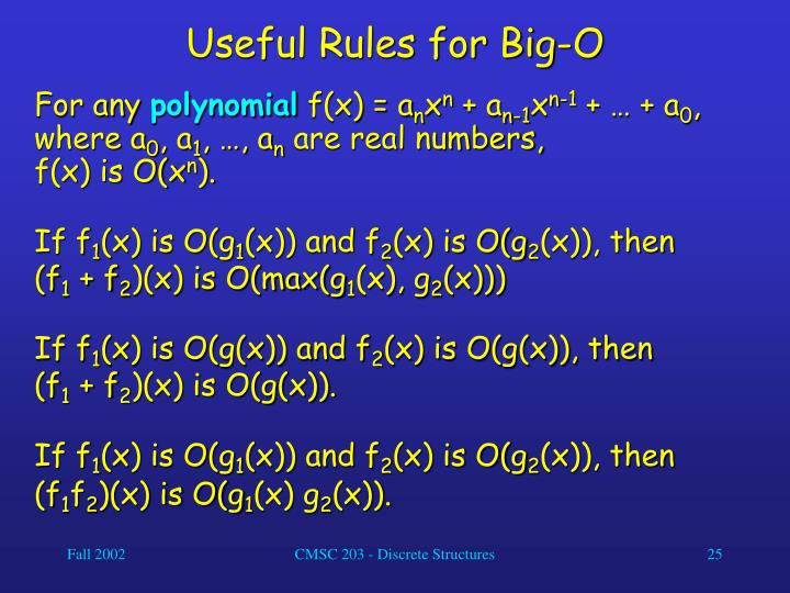 Useful Rules for Big-O