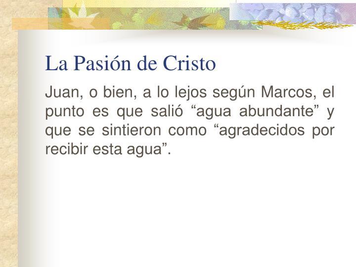 """Juan, o bien, a lo lejos según Marcos, el punto es que salió """"agua abundante"""" y que se sintieron como """"agradecidos por recibir esta agua""""."""