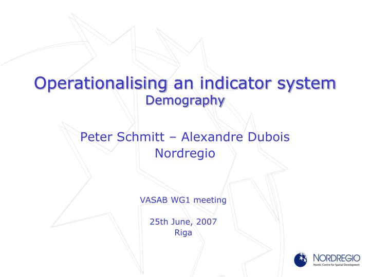 operationalising an indicator system demography