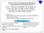 a low cost leadership strategy