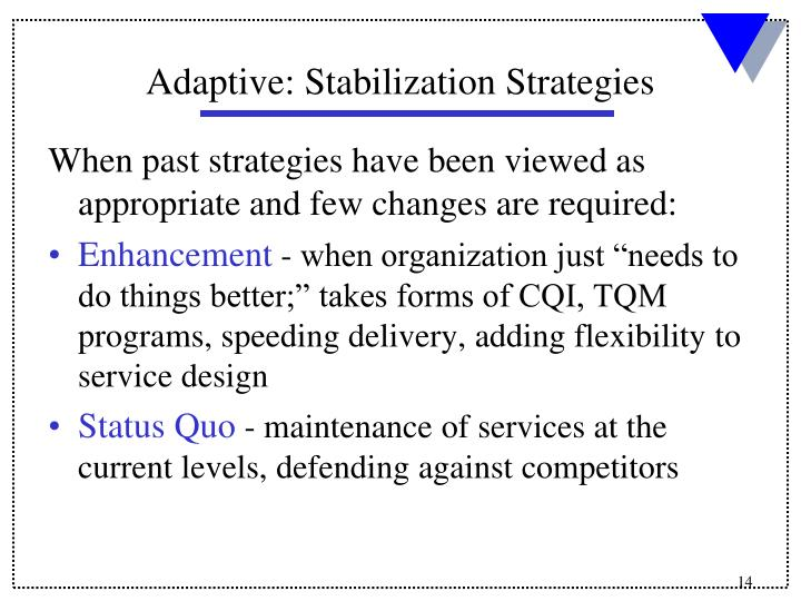 When past strategies have been viewed as appropriate and few changes are required: