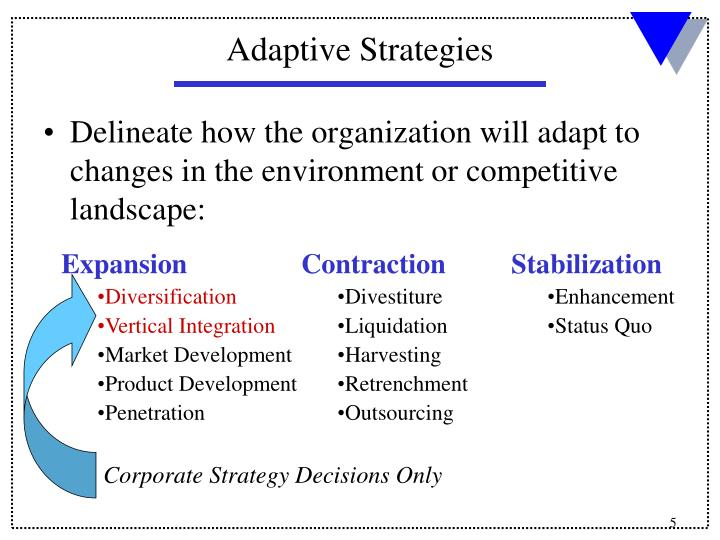 Delineate how the organization will adapt to changes in the environment or competitive landscape: