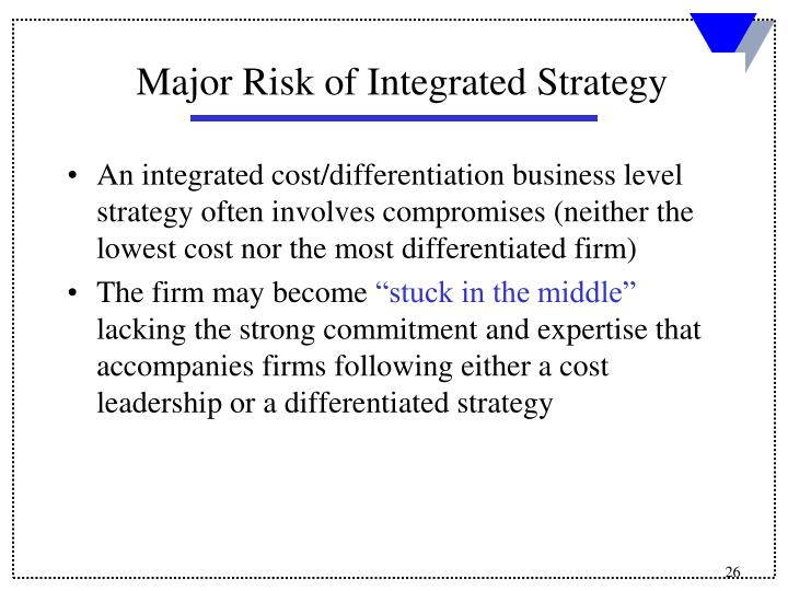 An integrated cost/differentiation business level strategy often involves compromises (neither the lowest cost nor the most differentiated firm)