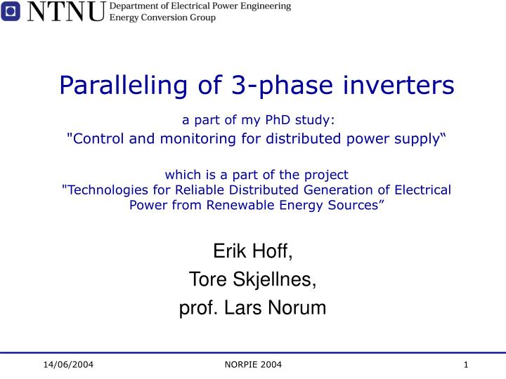 Paralleling of 3-phase inverters
