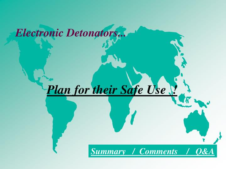 Electronic Detonators...