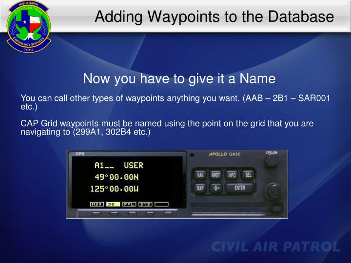 Adding Waypoints to the Database