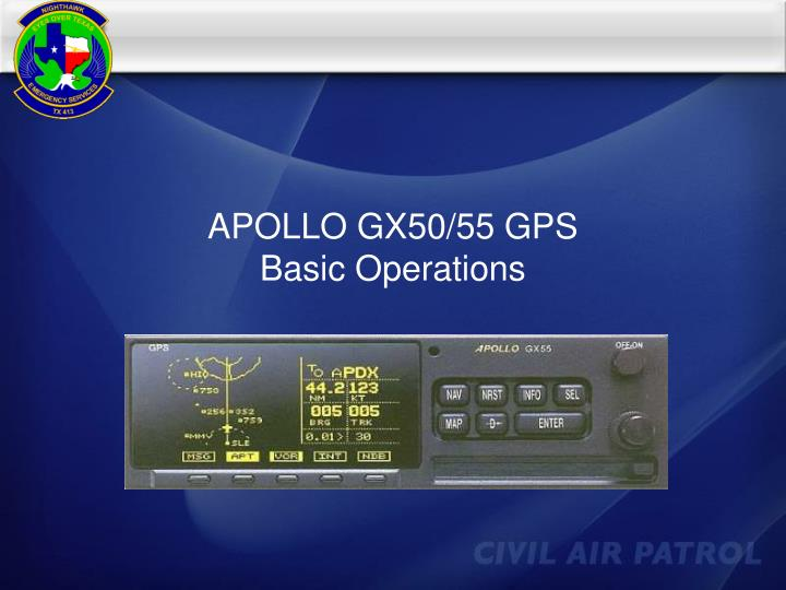 Apollo gx50 55 gps basic operations