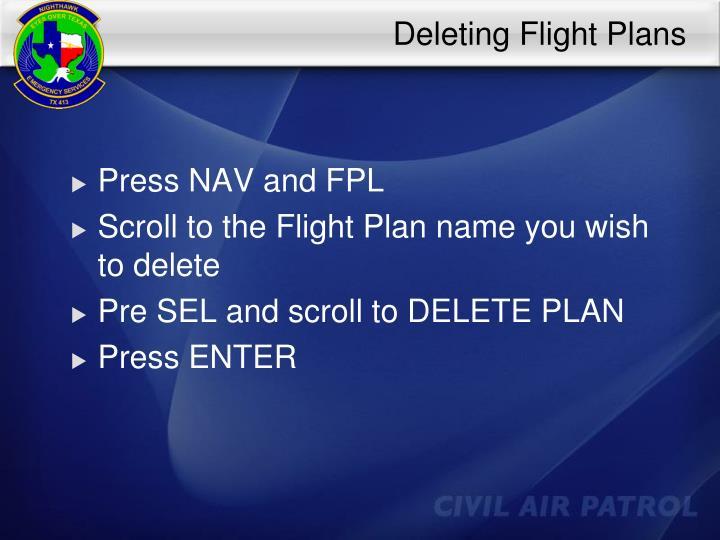 Deleting Flight Plans