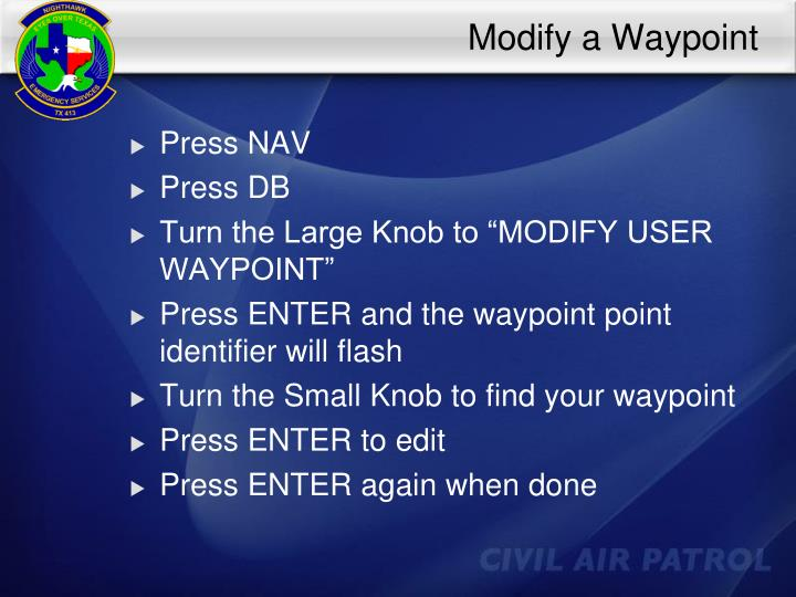 Modify a Waypoint