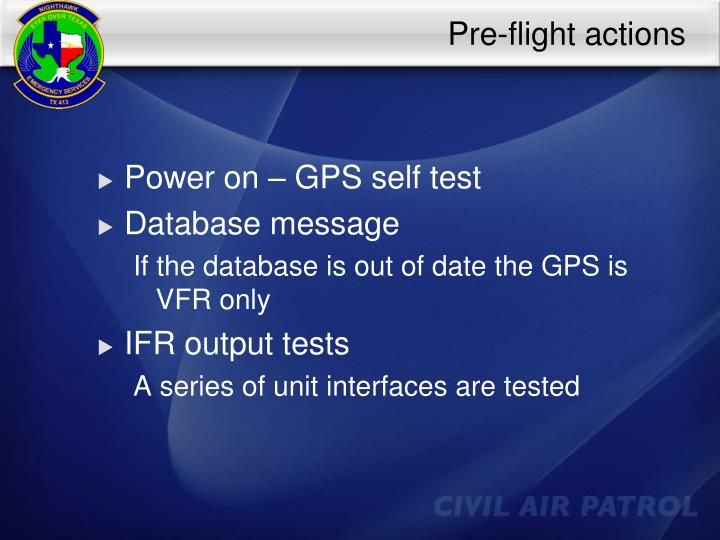 Pre-flight actions