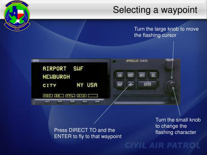 Selecting a waypoint