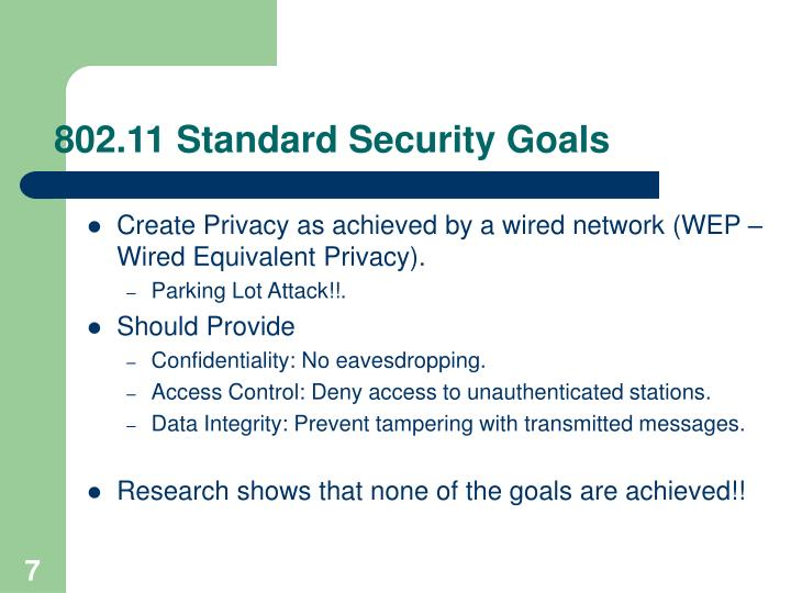 802.11 Standard Security Goals