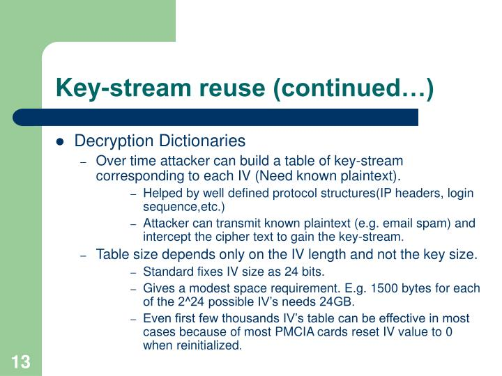 Key-stream reuse (continued…)