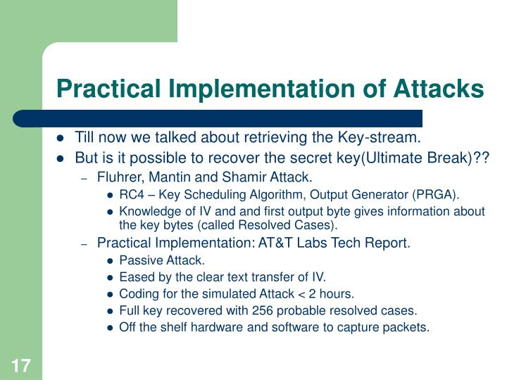 Practical Implementation of Attacks