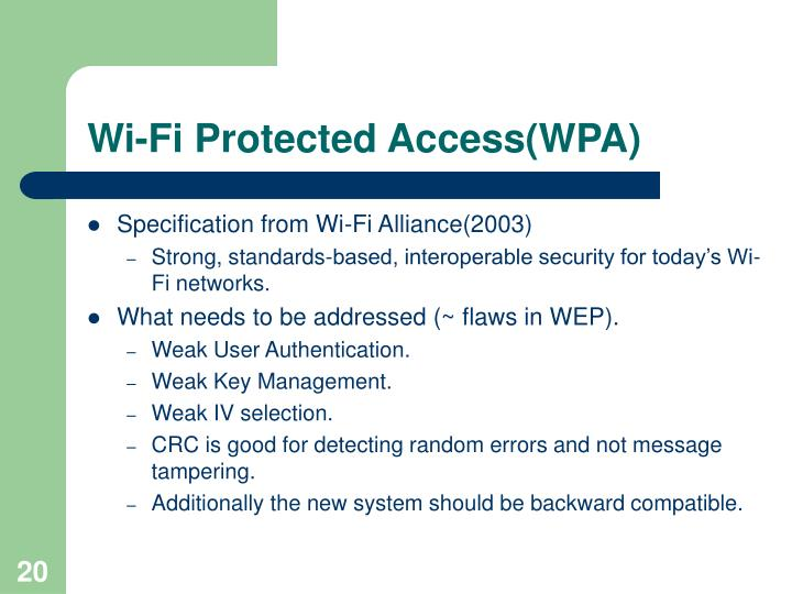 Wi-Fi Protected Access(WPA)