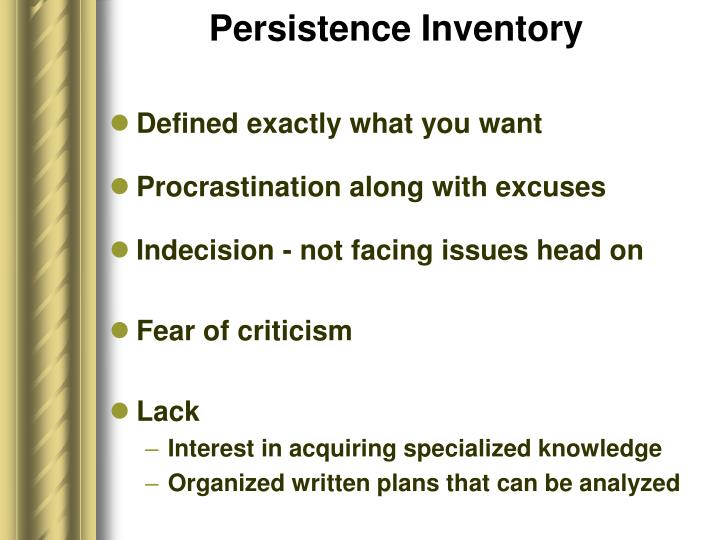 Persistence Inventory