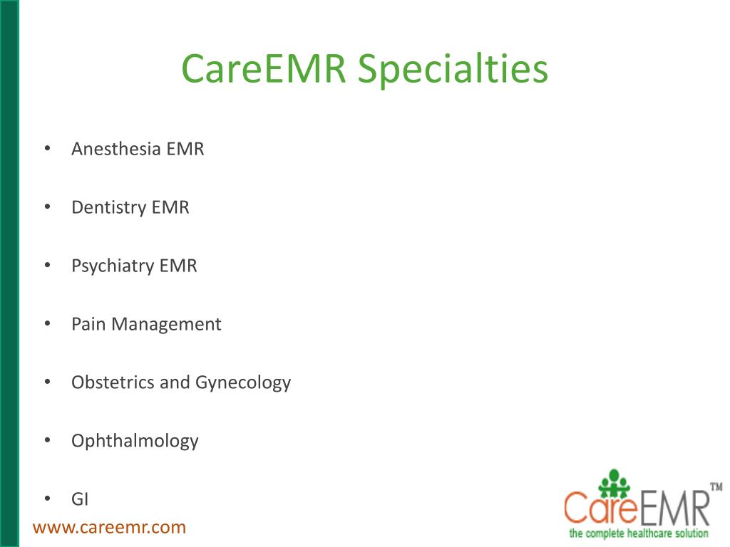 CareEMR Specialties