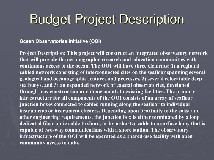 Budget Project Description