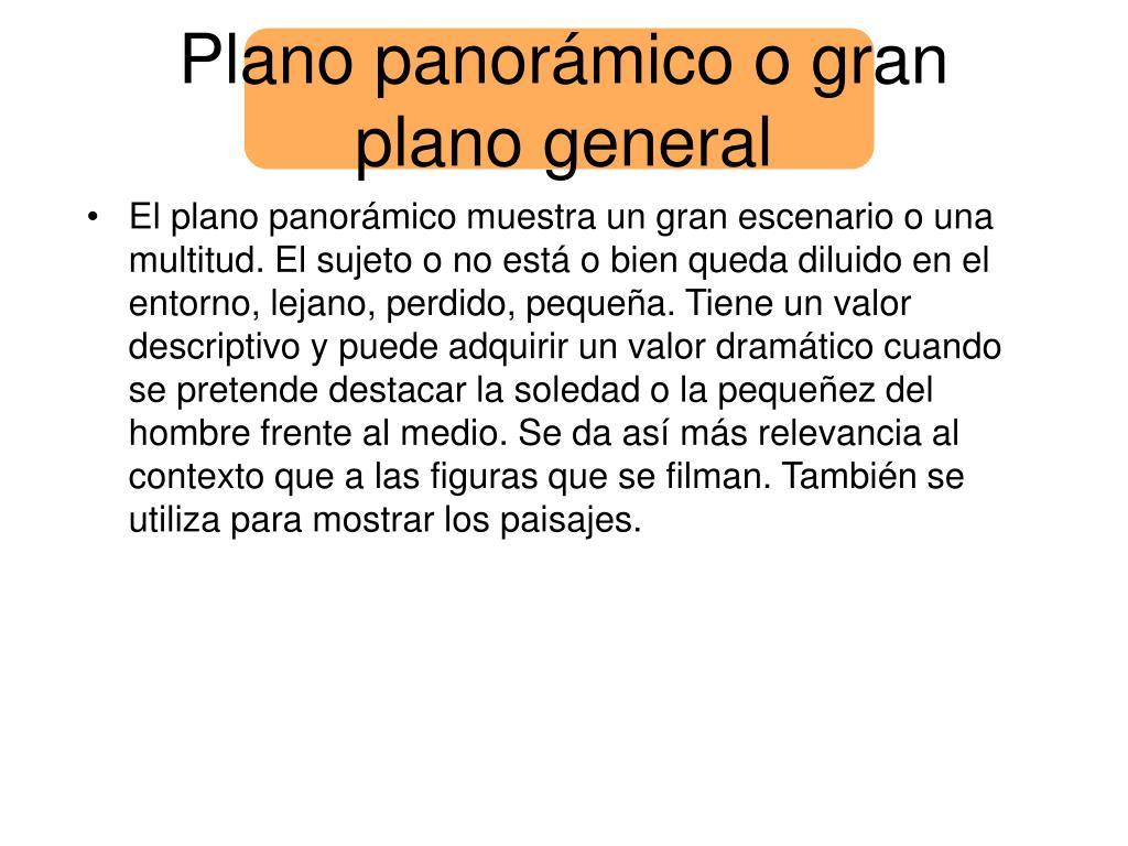 Plano panorámico o gran plano general