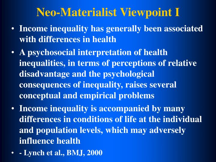 Neo-Materialist Viewpoint I