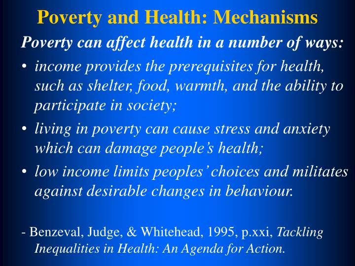 Poverty and Health: Mechanisms