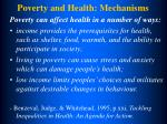 poverty and health mechanisms