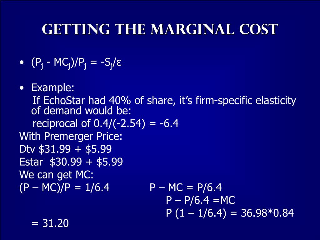 Getting the Marginal Cost