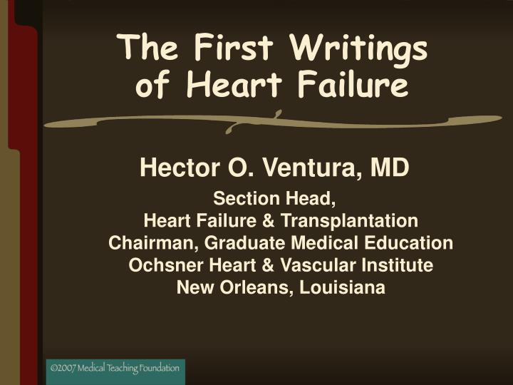 The first writings of heart failure