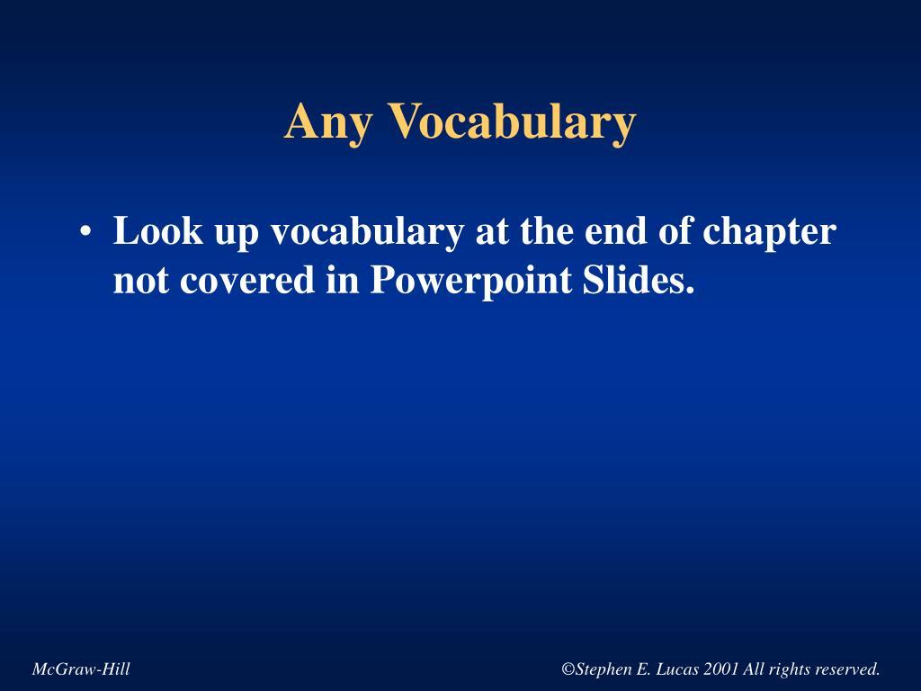 Any Vocabulary