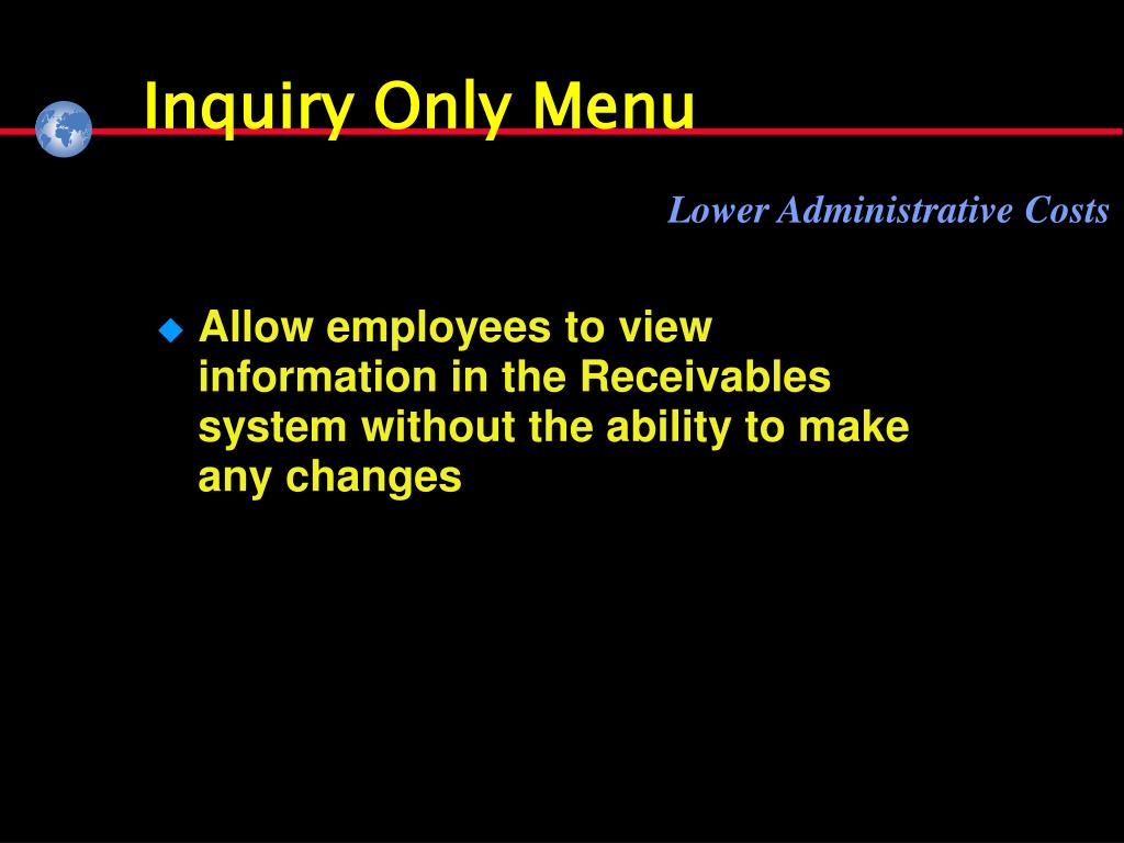 Inquiry Only Menu
