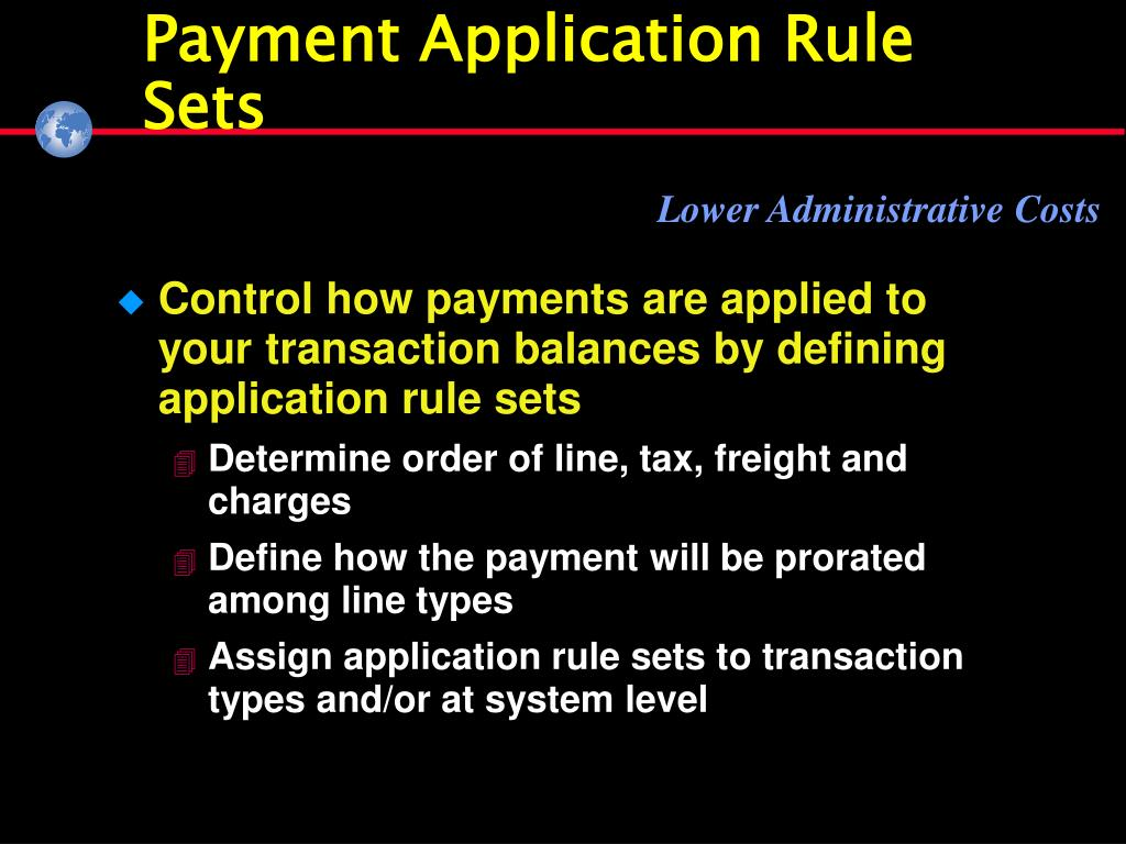 Payment Application Rule Sets