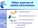 other sources of useful information