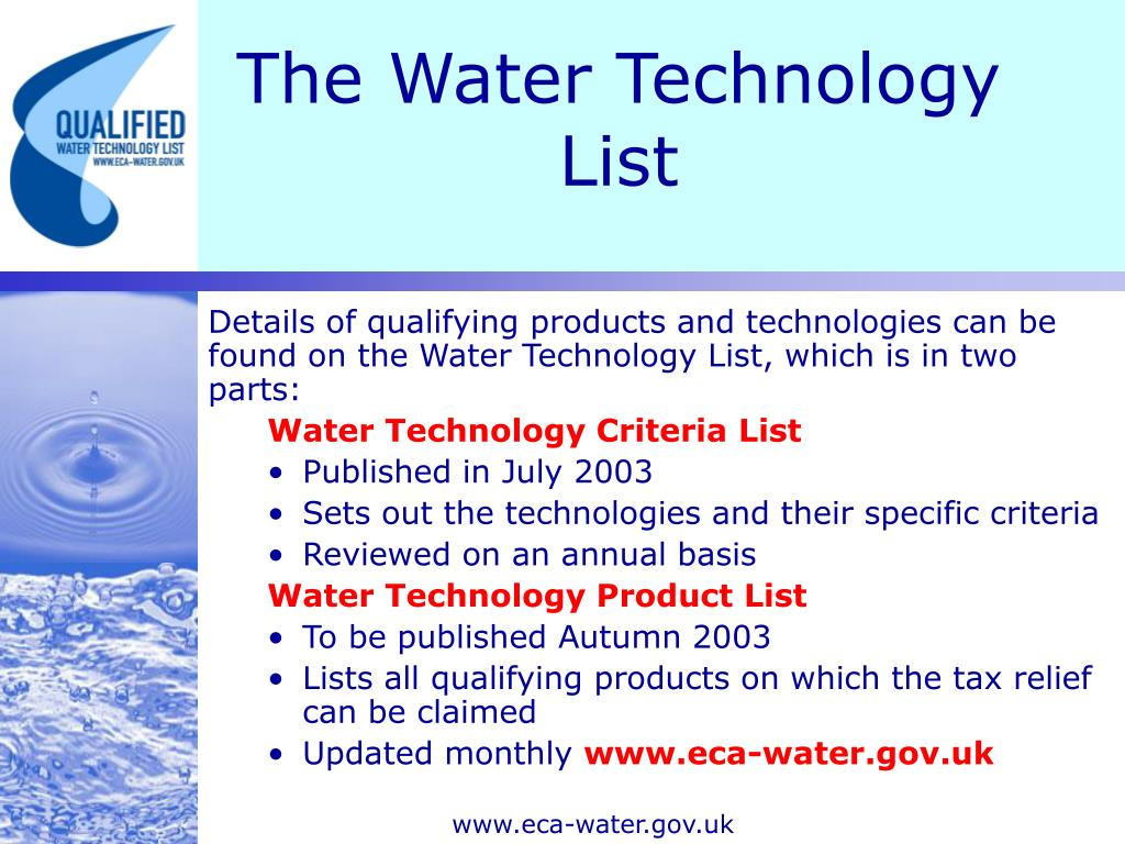The Water Technology List