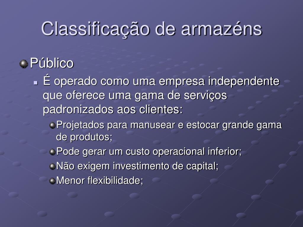 Classificação de armazéns