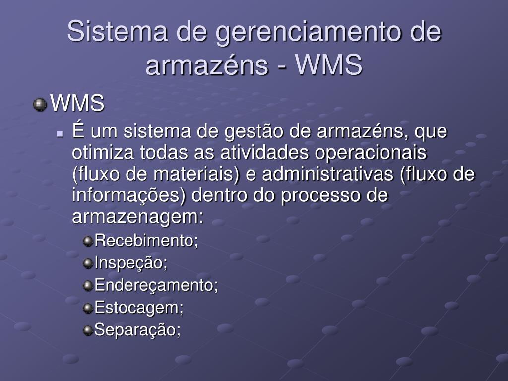 Sistema de gerenciamento de armazéns - WMS
