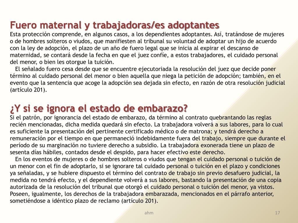 Fuero maternal y trabajadoras/es adoptantes