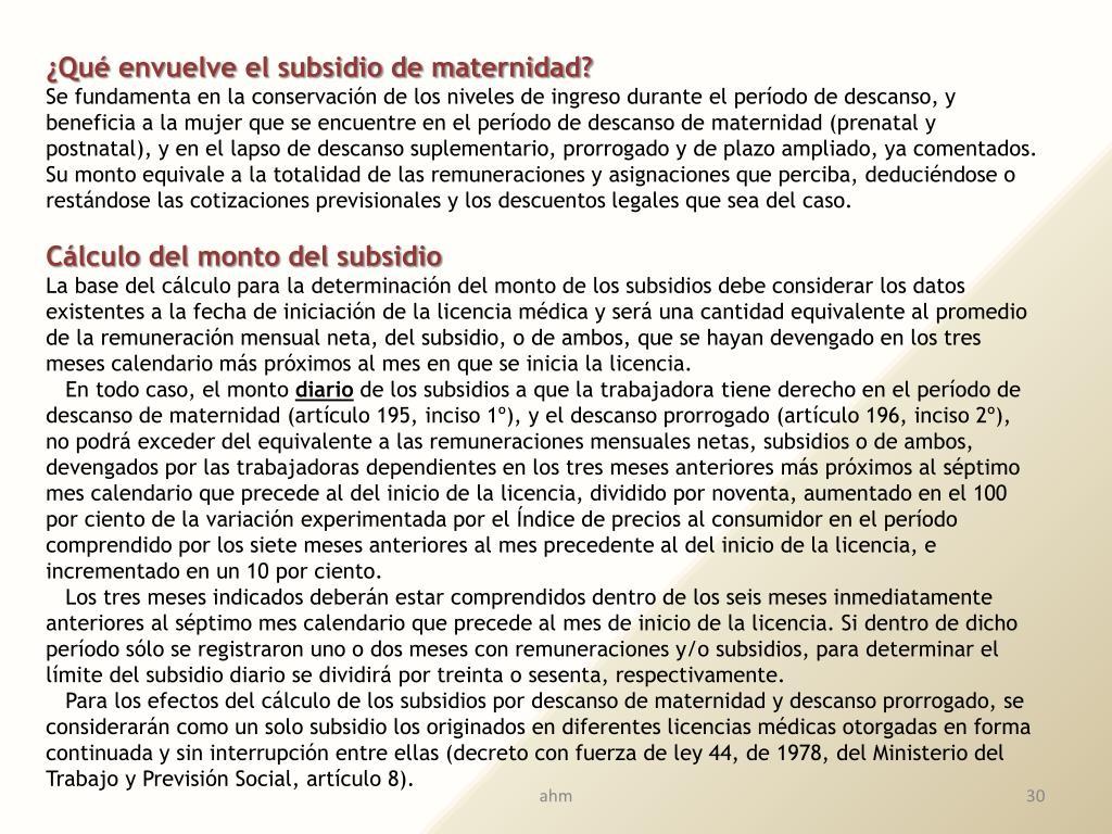 ¿Qué envuelve el subsidio de maternidad?