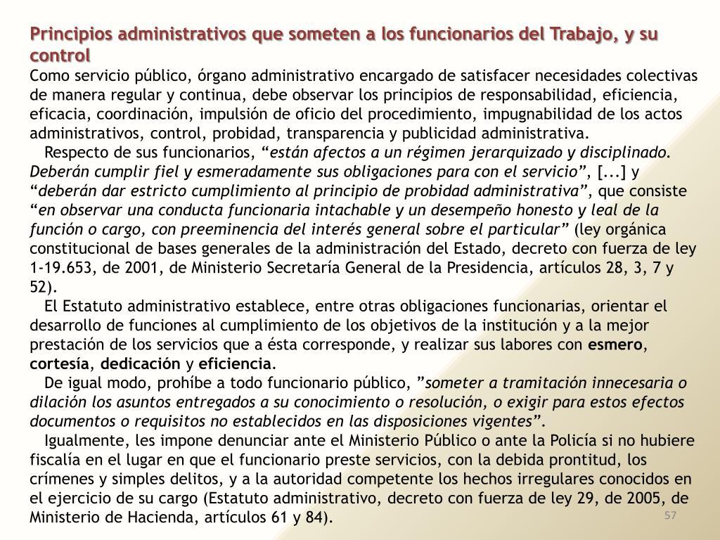 Principios administrativos que someten a los funcionarios del Trabajo, y su control