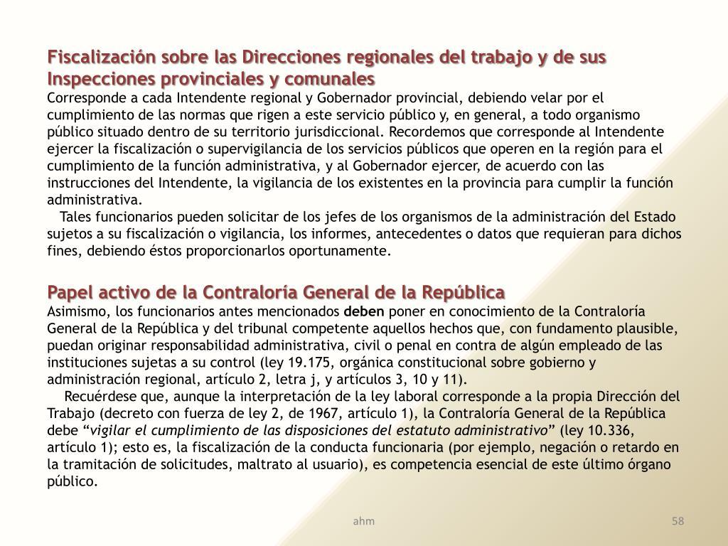 Fiscalización sobre las Direcciones regionales del trabajo y de sus Inspecciones provinciales y comunales