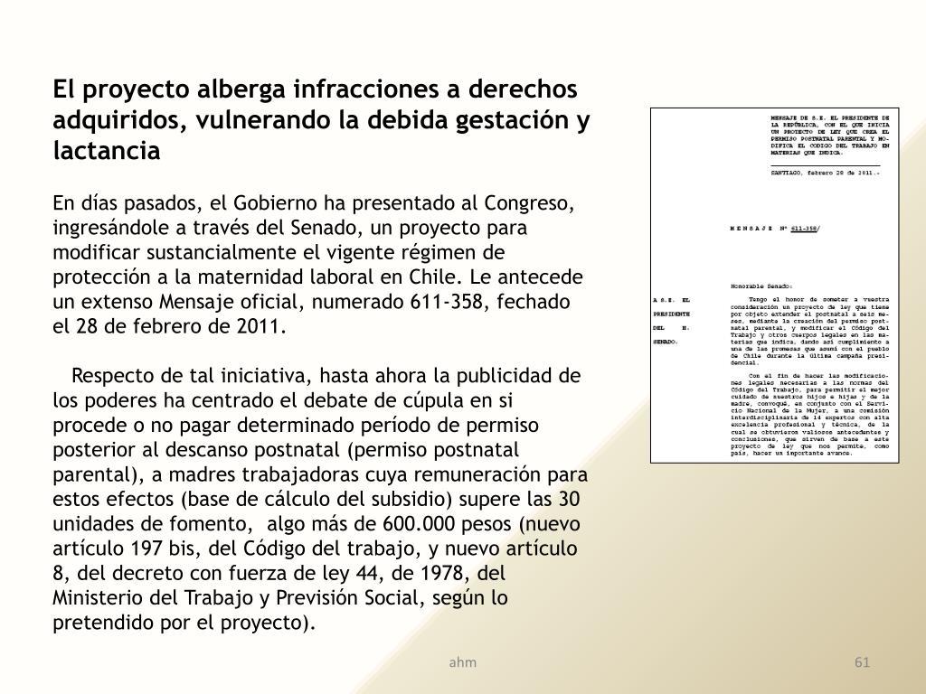 El proyecto alberga infracciones a derechos adquiridos, vulnerando la debida gestación y lactancia